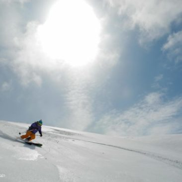 First-class corn skiing on smooth volcano's slopes