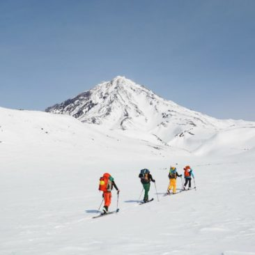 Approaching to Koryakskiy volcano, amazing giant with 3456 meters of superb skiing.