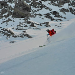 Powder skiing in Ganalsky range, end of April.