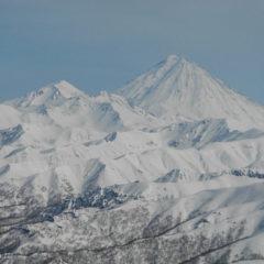 North-West side of Koryaksky volcano; Arik and Aag volcanoes