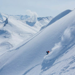 Powder skiing with the view of Mutnovsky volcano, end of April.