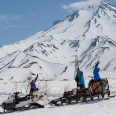 Snowmobile approach to the foot of Viluchinsky volcano