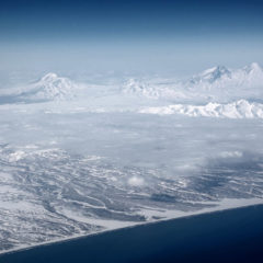 Kluchevskaya group of volcanoes from aircraft
