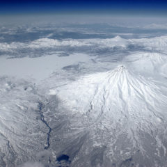 Kronotsky volcano from aircraft