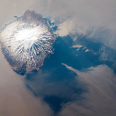 Alaid volcano (Atlasova island) from space.