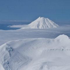 Paramushir island, Chikurachiki and Fussa volcanoes.