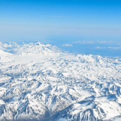 Summer scenery of Kamchatka from aircraft