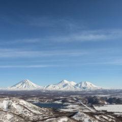 From left to right: Koryaksky, Avachinsky and Kozelsky volcanoes.