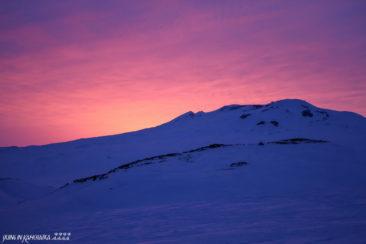 Sunset over Gorely volcano